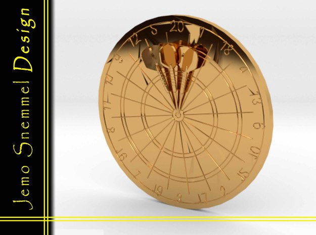 Dartbord With Darts in 18K Gold Plated