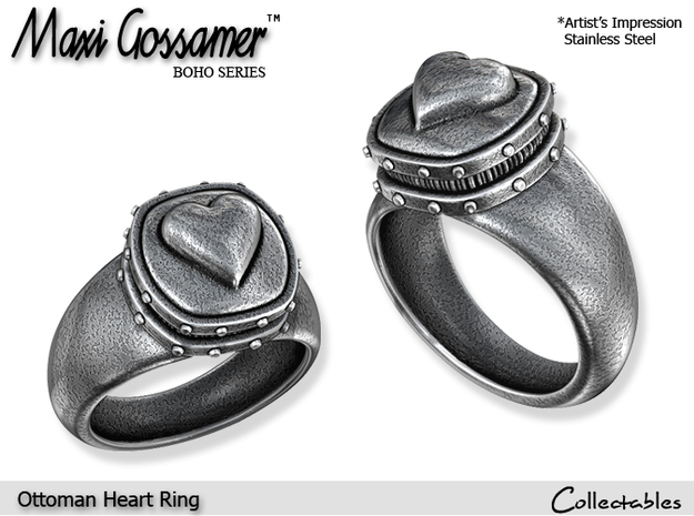 Ottoman Heart Ring in Polished Silver