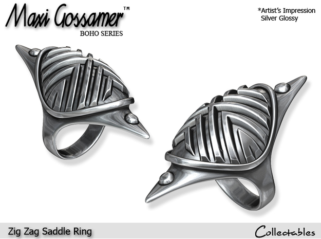Zig Zag Saddle Ring in Polished Silver
