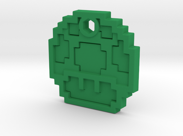 Mario Mushroom 1up Necklace in Green Processed Versatile Plastic