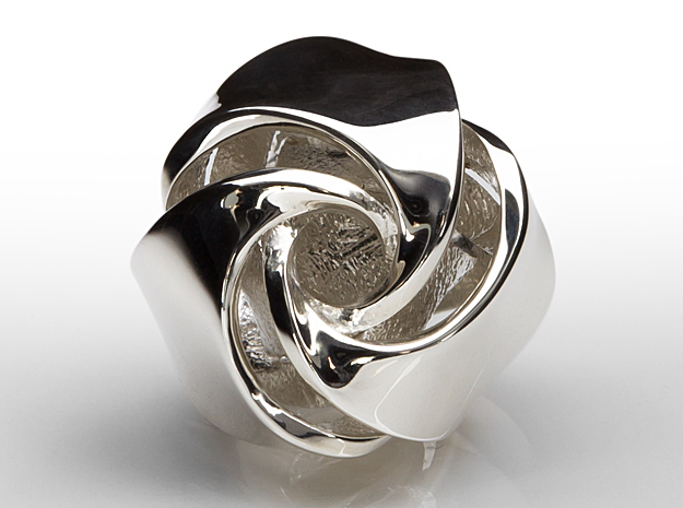 Rose Ball Pendant 20mm in Fine Detail Polished Silver