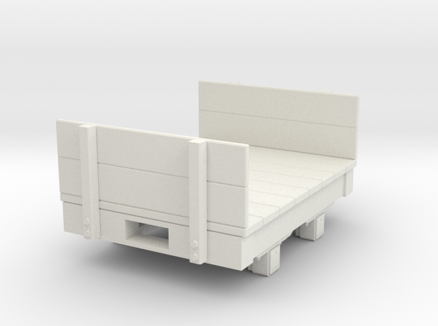 Gn15 small 4ft Flat wagon with ends  in White Natural Versatile Plastic