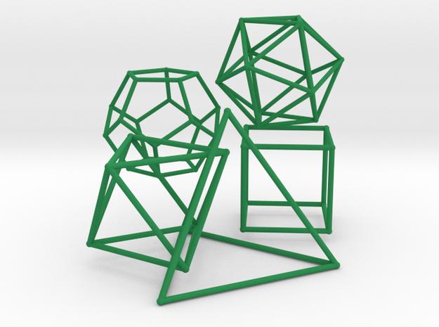 Five Platonic Solids (500 cc) in Green Processed Versatile Plastic
