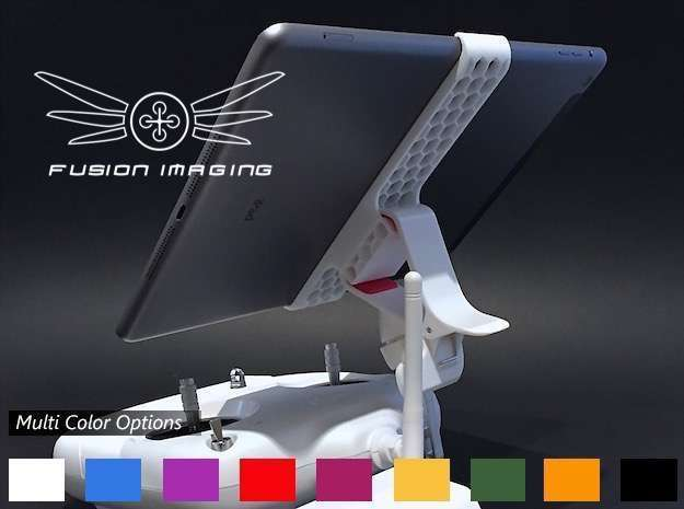 iPad Air Remote Mount for DJI Phantom in White Strong & Flexible