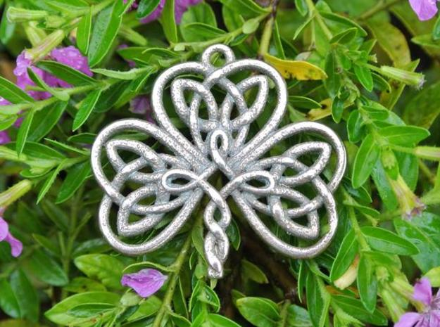 Shamrock Knot Pendant 1.25 Inch in Polished Bronzed Silver Steel