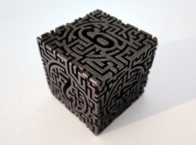 Labyrinthine d6 in Polished Bronze Steel
