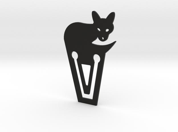 White Fox Bookmark in Black Natural Versatile Plastic
