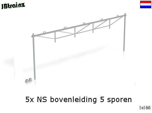 Catenary (5 set) Dutch style 5 track (1:160) in Smooth Fine Detail Plastic