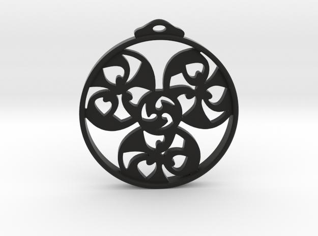 Triskele Pendant / Earring in Black Strong & Flexible