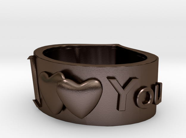 Ring I LoveYou in Polished Bronze Steel