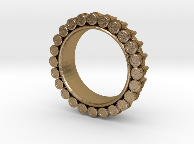 Bullet ring(size = USA 5.5) in Polished Gold Steel