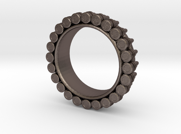 Bullet ring(size = USA 6.5) in Polished Bronzed Silver Steel
