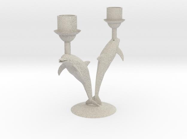 Delphin Candlestick / Dolfijnkandelaar Ø 21 mm in Natural Sandstone