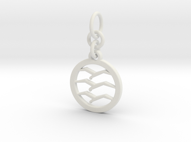 Gliding Badge Keychain with links in White Natural Versatile Plastic