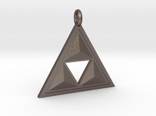 Triforce Keyring in Polished Bronzed Silver Steel