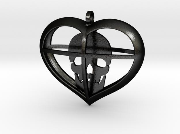 Skull Heart (1) in Matte Black Steel
