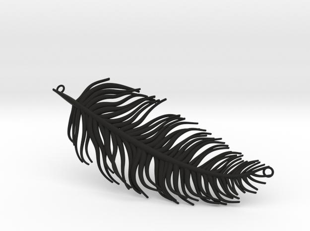 Pendant feather in Black Natural Versatile Plastic