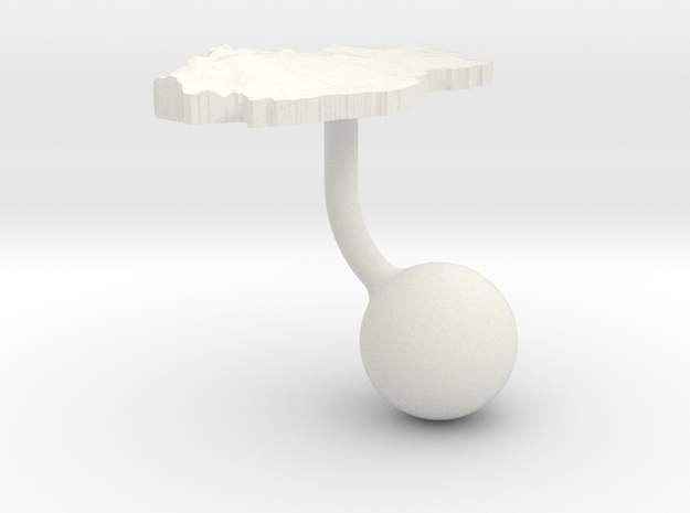 Qatar Terrain Cufflink - Ball in White Natural Versatile Plastic