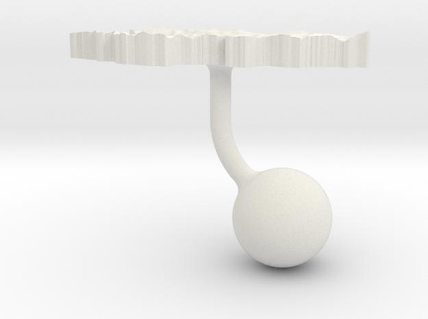 Kyrgyzstan Terrain Cufflink - Ball in White Natural Versatile Plastic