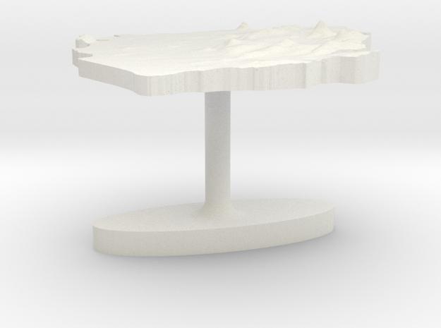 Sierra Leone Terrain Cufflink - Flat in White Natural Versatile Plastic