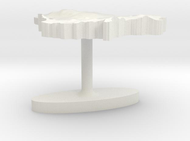 Lithuania Terrain Cufflink - Flat in White Natural Versatile Plastic