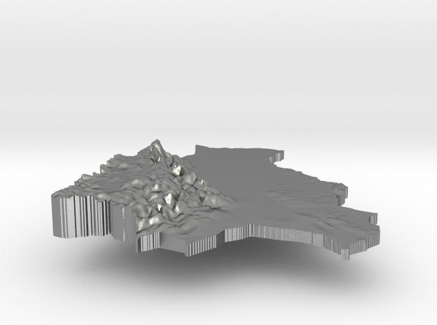Bolivia Terrain Silver Pendant in Raw Silver