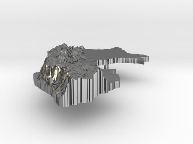 Peru Terrain Silver Pendant 3d printed