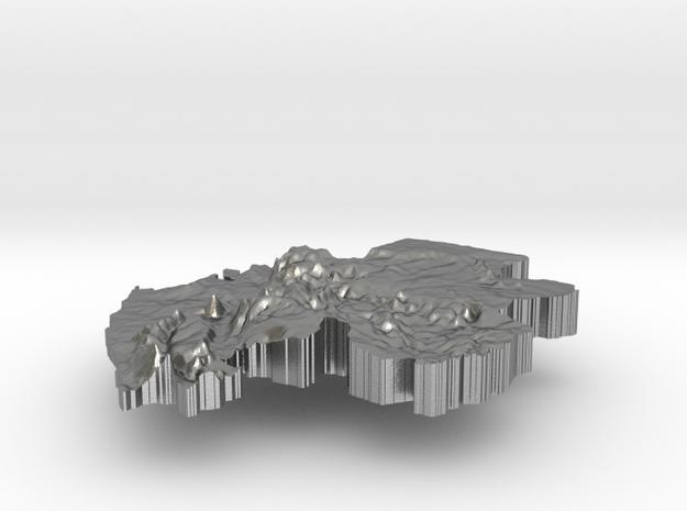 Gabon Terrain Silver Pendant in Raw Silver