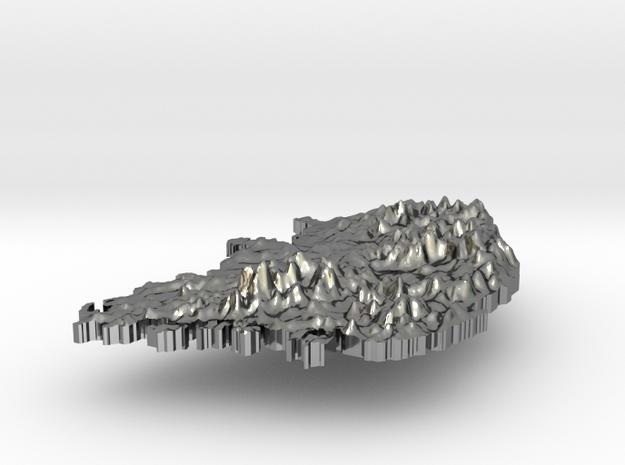 South Korea Terrain Silver Pendant 3d printed