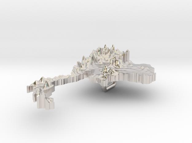 Thailand Terrain Silver Pendant 3d printed