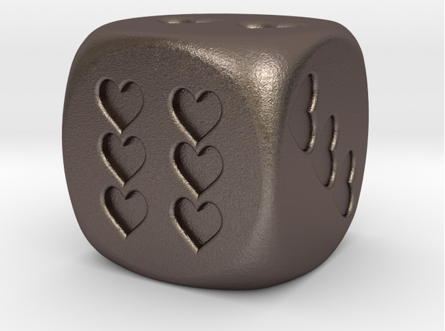Dice Hearts in Polished Bronzed Silver Steel