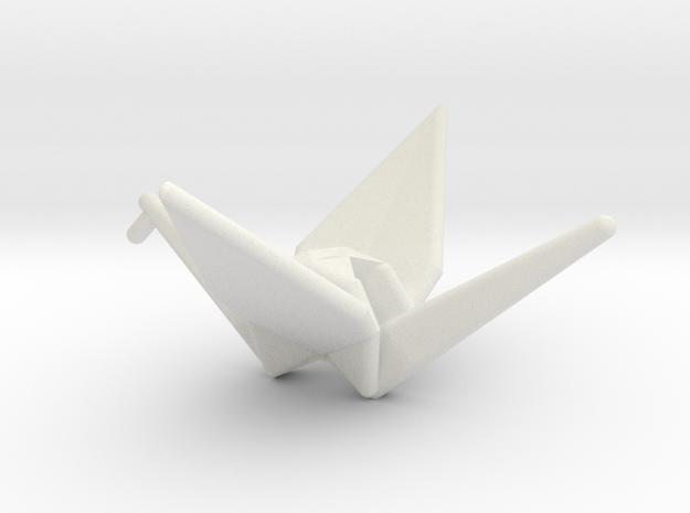 Origami Crane in White Natural Versatile Plastic