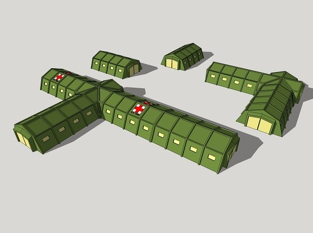 6mm Military Field Hospital in White Natural Versatile Plastic