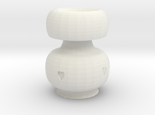 Heart Pot in White Natural Versatile Plastic