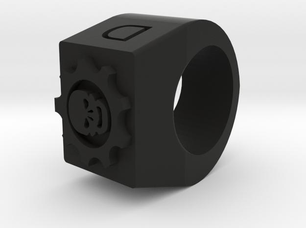 Skull Ring in Black Natural Versatile Plastic
