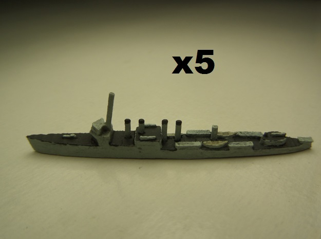 USS Ward (Wickes DD) 1:1800 x5 3d printed Comes unpainted.