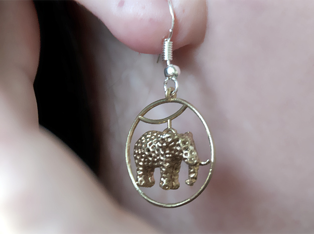 Elephant Earring in Raw Brass