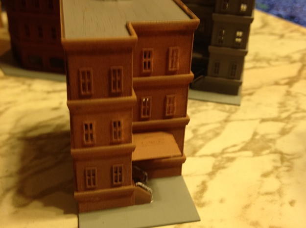 City Apartment Building 2 Z Scale in Smooth Fine Detail Plastic