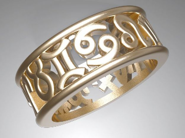 Constellation symbol ring 7.5-8 in Polished Gold Steel