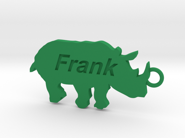 Keychain for Frank in Green Strong & Flexible Polished