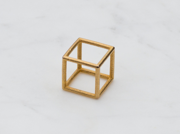 Cube Ring - Size 4 to Size 7 in Polished Gold Steel: 4 / 46.5