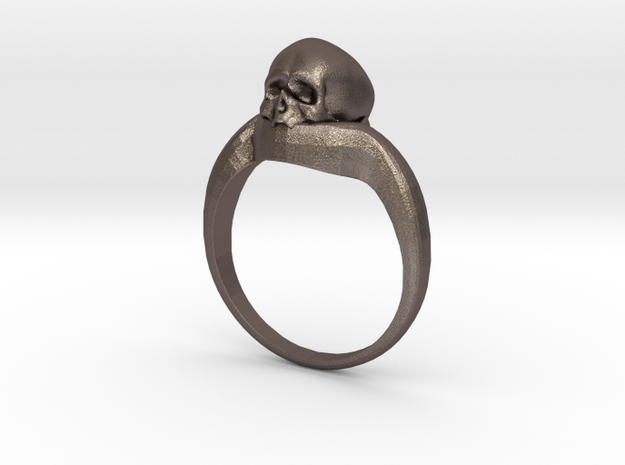 150109 Skull Ring 1 Size 12  in Polished Bronzed Silver Steel
