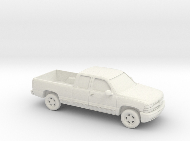 1/87 2000 Chevrolet Silverado Extended Cab in White Natural Versatile Plastic