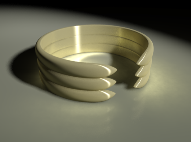Open Banded Ring in Polished Bronzed Silver Steel