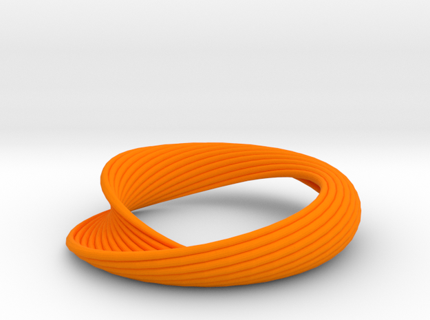 Curvilinear Bracelet  in Orange Processed Versatile Plastic