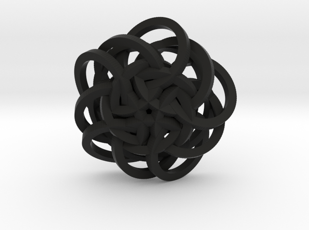 Spiral Pendant in Black Natural Versatile Plastic