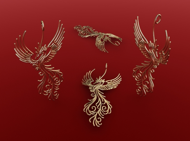 Phoenix pendant  6cm 3d printed Gold Plated Glossy render