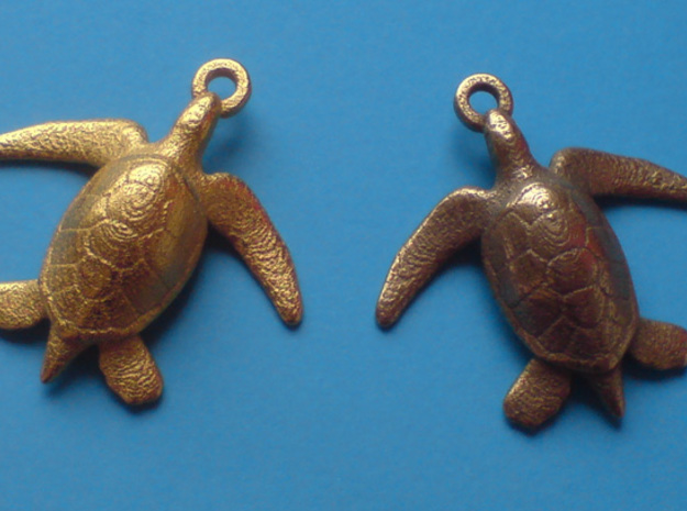 Sea Turtle Pendant 3d printed left gold plated glossy, right stainless steel