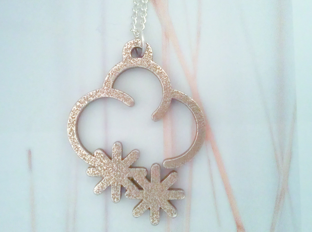 Frosty Cloud - Weather Symbol Pendant in Polished Bronzed Silver Steel