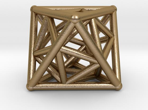 Golden Octahedron Pendant #2 in Polished Gold Steel